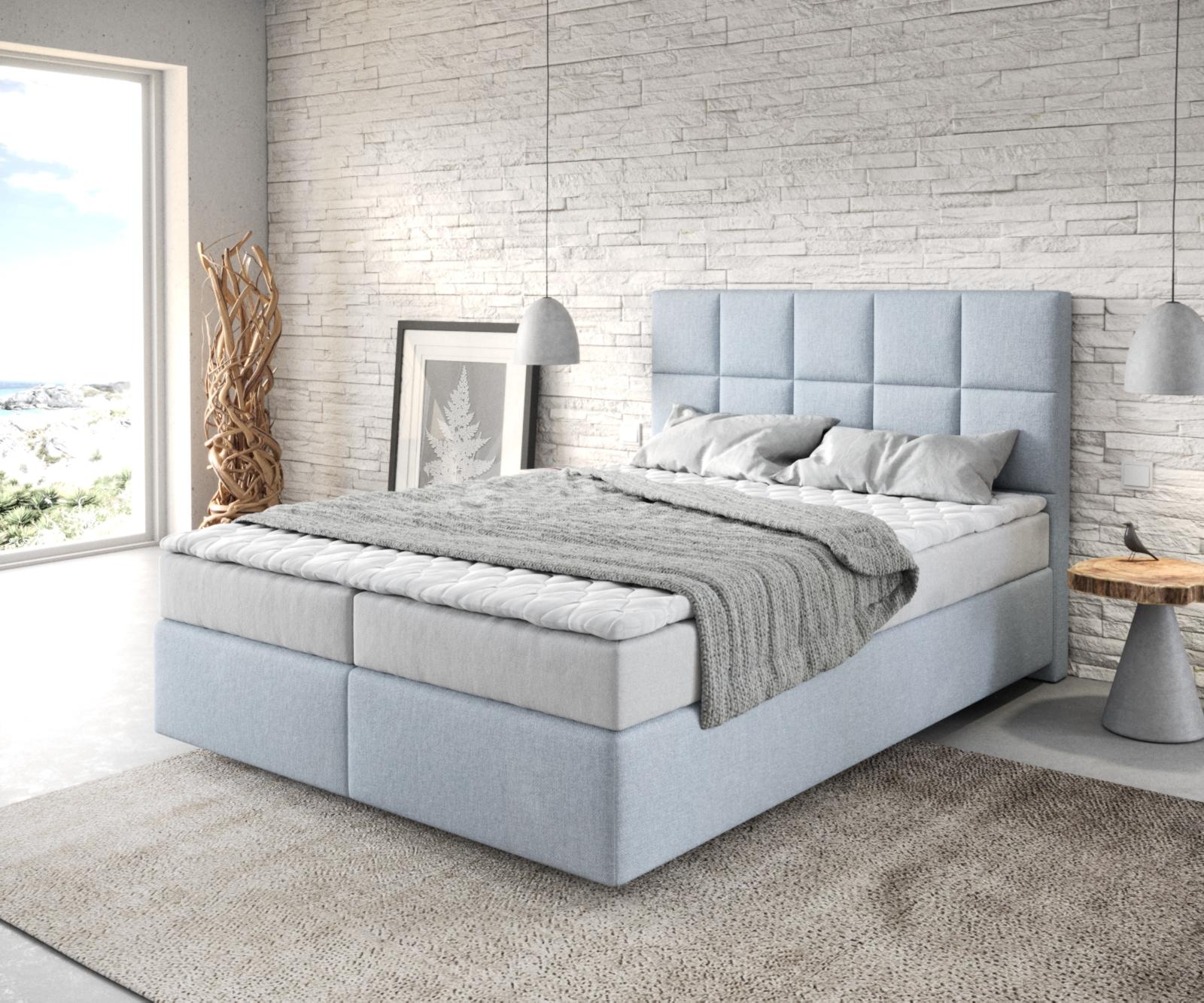 Boxspringbett Dream-Fine 140x200 Flachgewebe Pastellblau