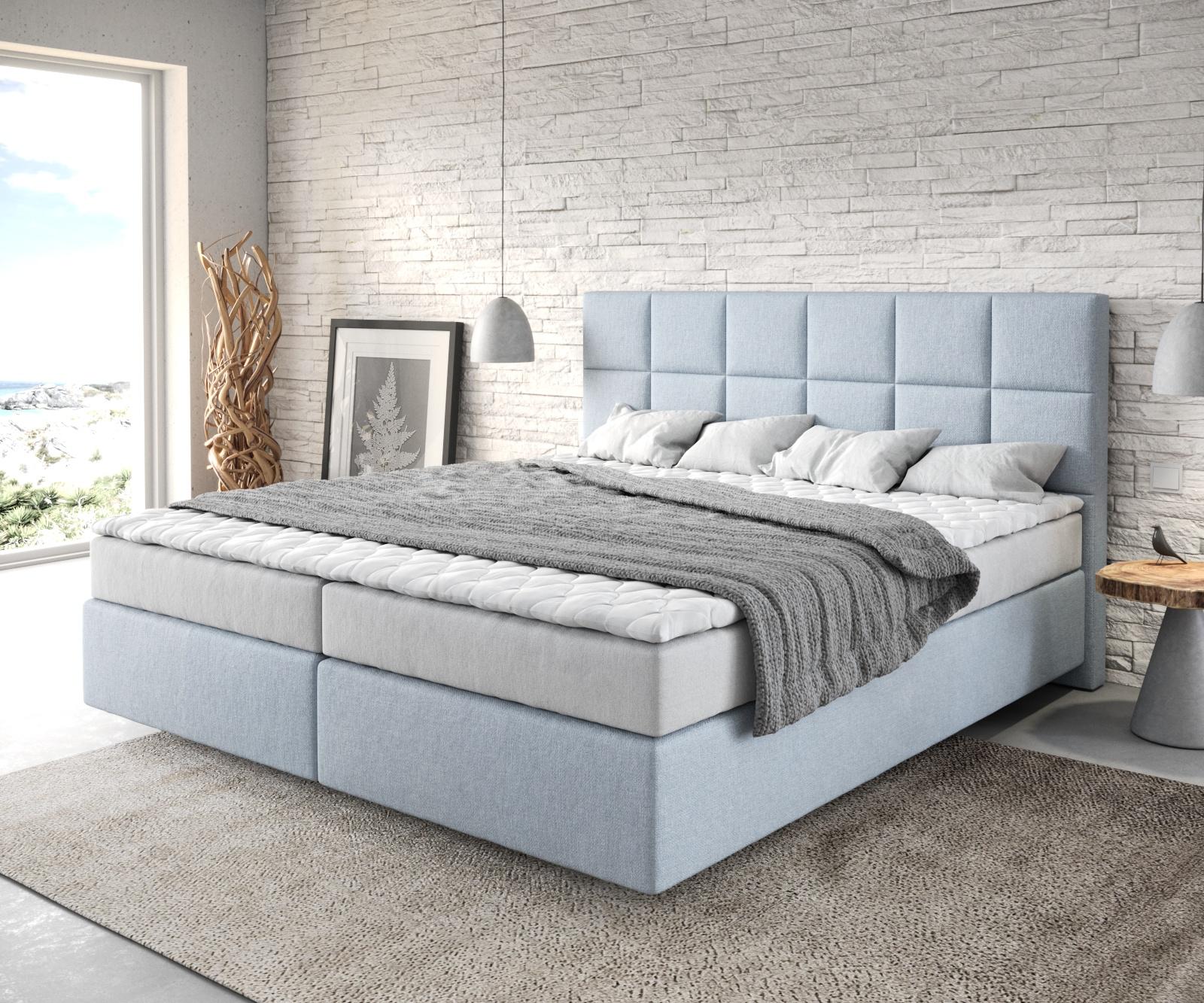 Boxspringbett Dream-Fine 180x200 Flachgewebe Pastellblau