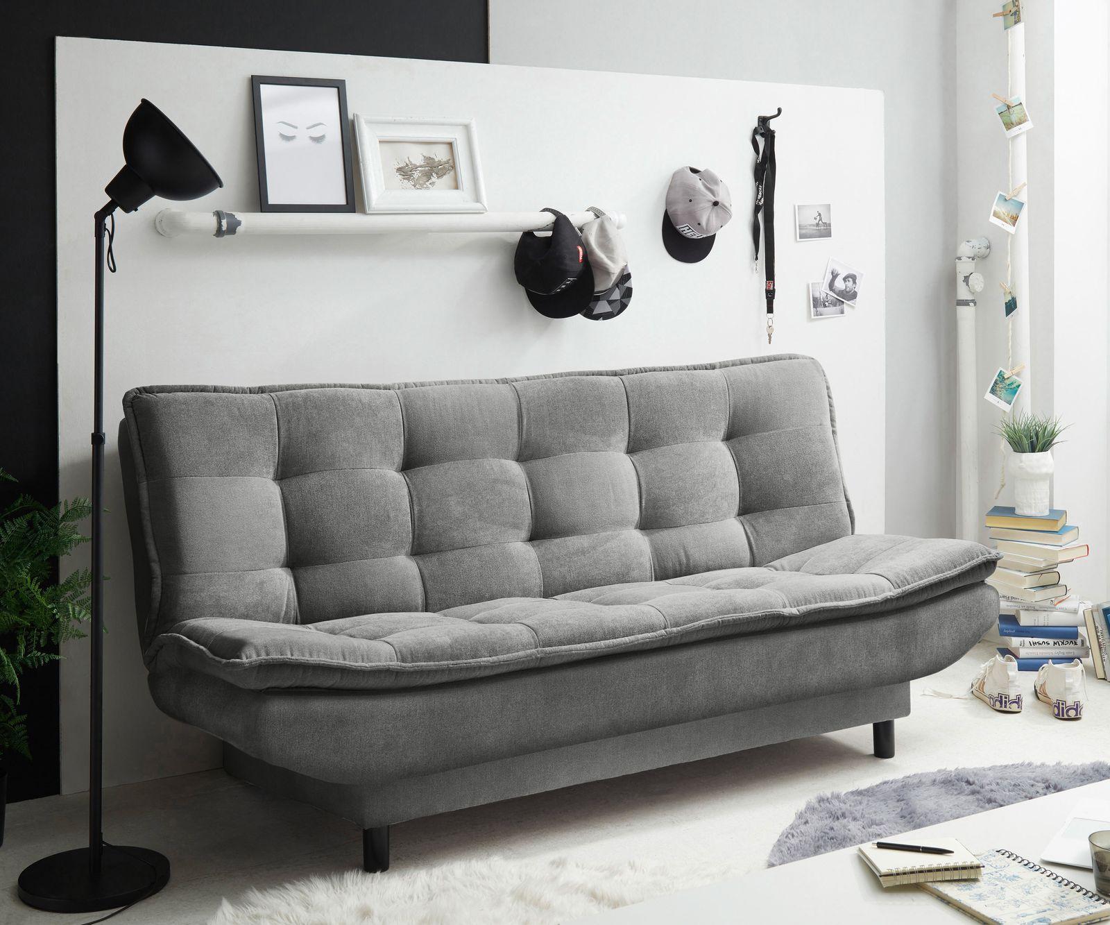 Schlafsofa Paavo 188x90 cm Dunkelgrau 2-Sitzer Bettkasten