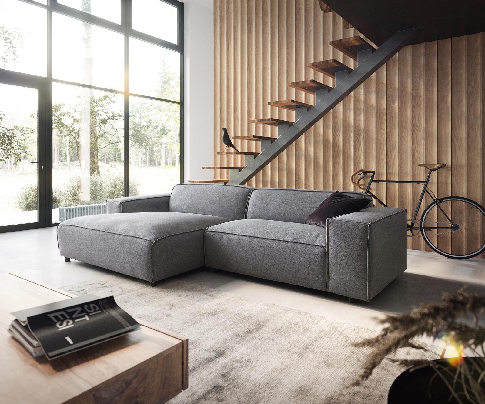 Canapé d'angle Noir Tissu Moderne Confort