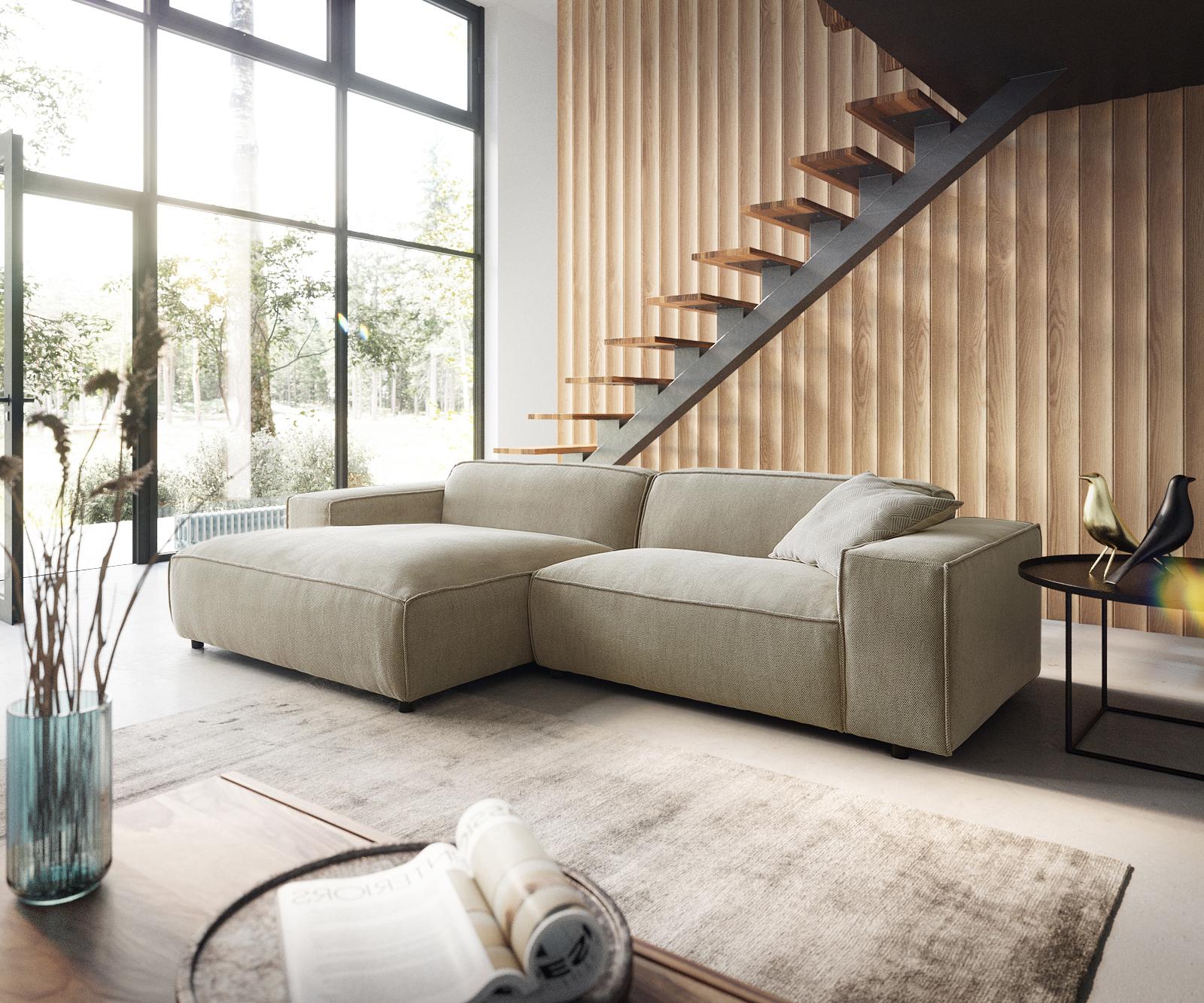 Canapé d'angle Beige Moderne Confort