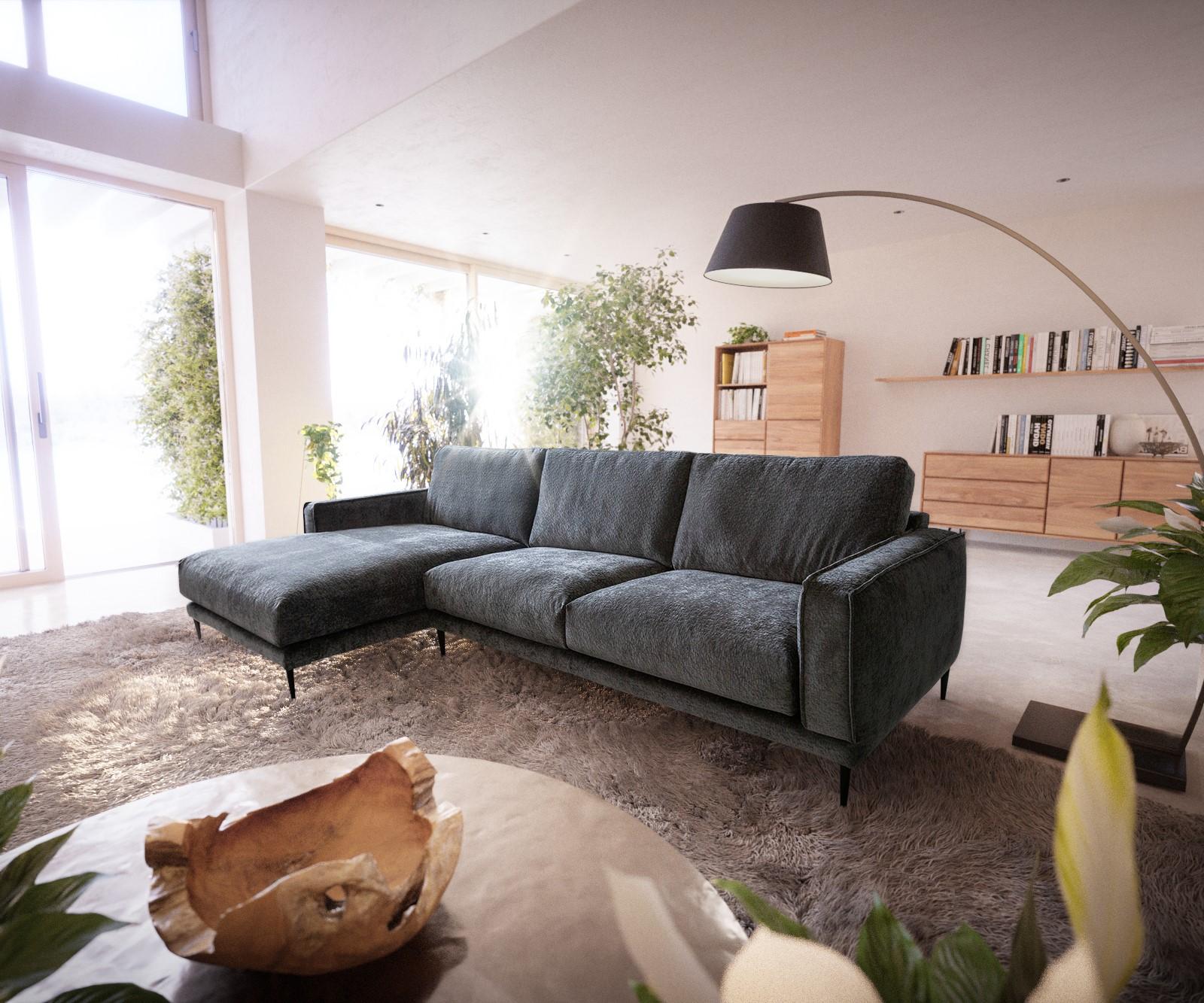 Canapé d'angle 2 places Noir Tissu Moderne