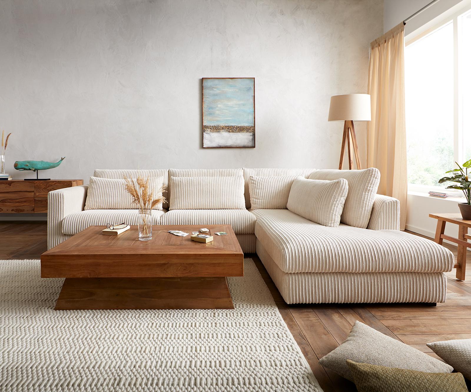Canapé d'angle 2 places Beige Tissu Confort Original