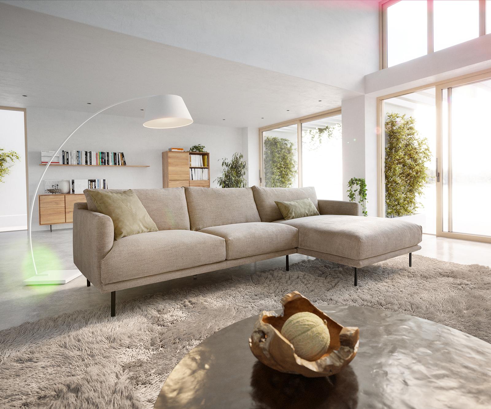 Canapé d'angle 5 places Beige Moderne Confort