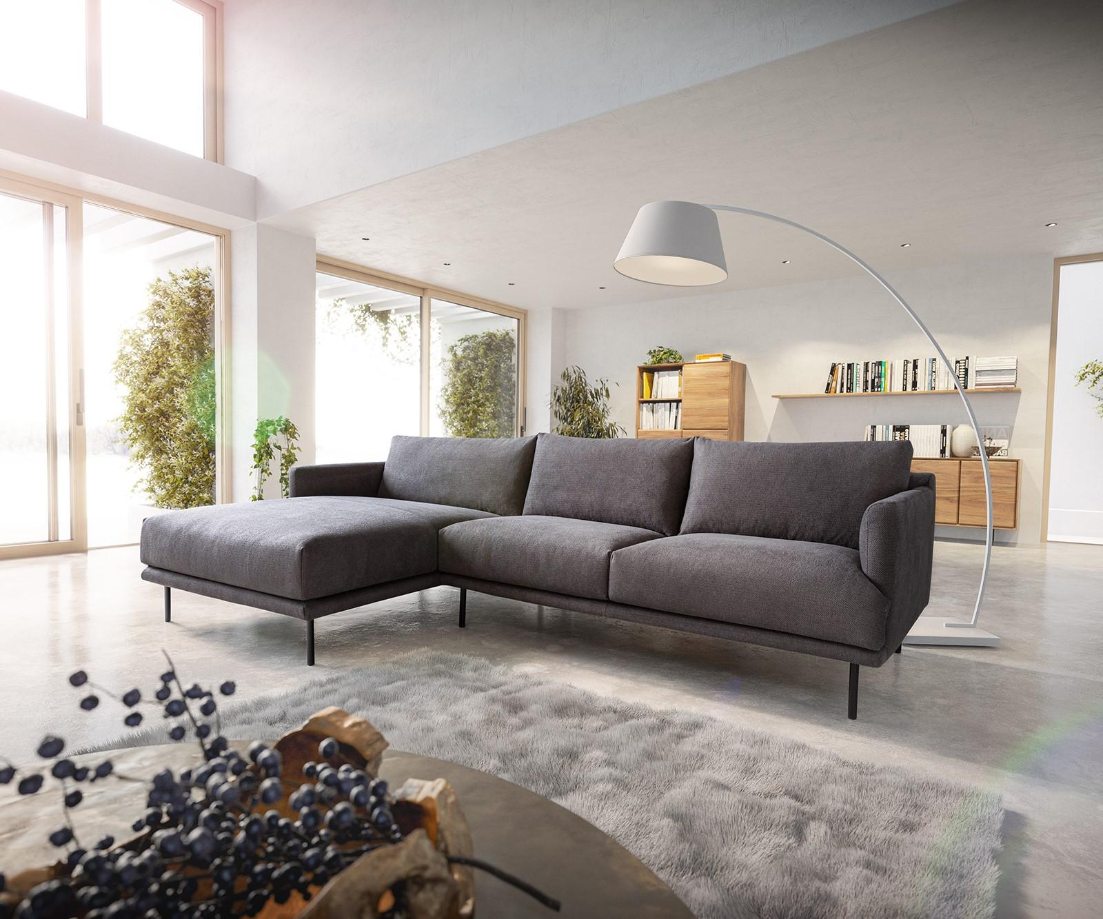 Canapé d'angle 5 places Bleu Tissu Moderne Confort