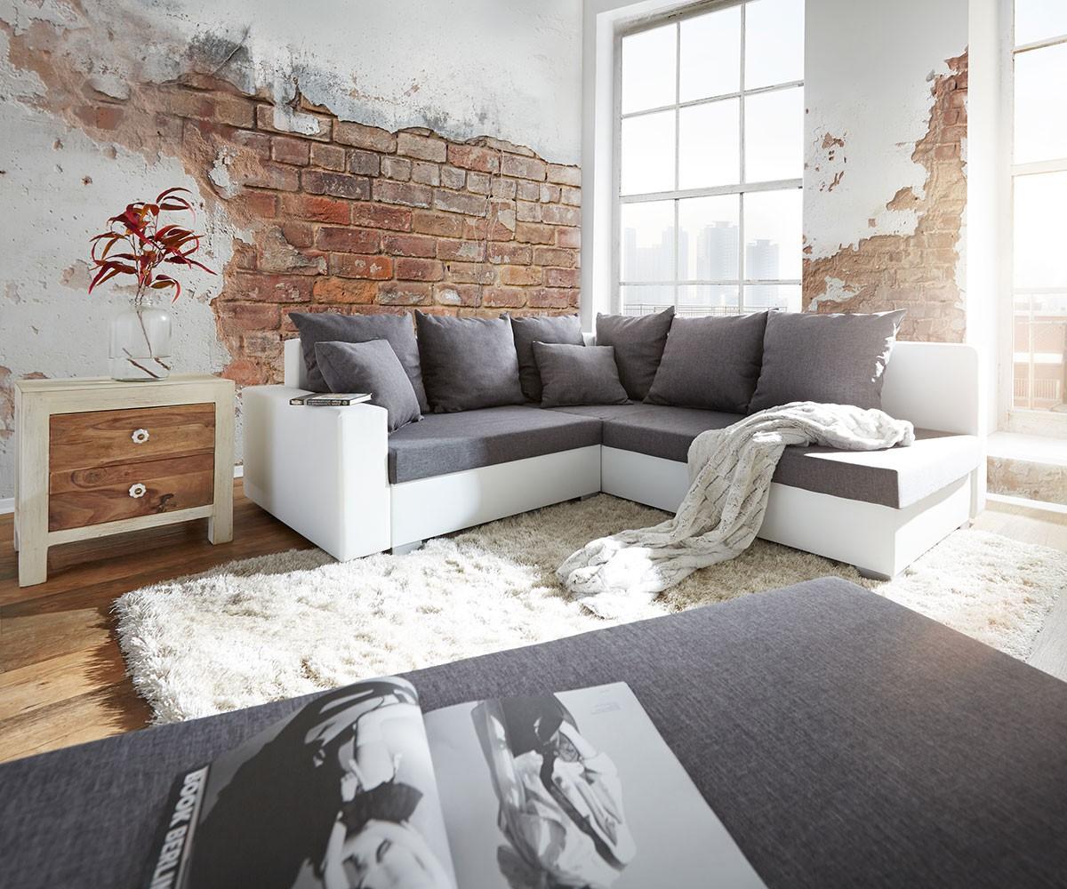 DELIFE Ecksofa Lavello 210x210 cm Weiss Grau Sofa mit Hocker, Ecksofas
