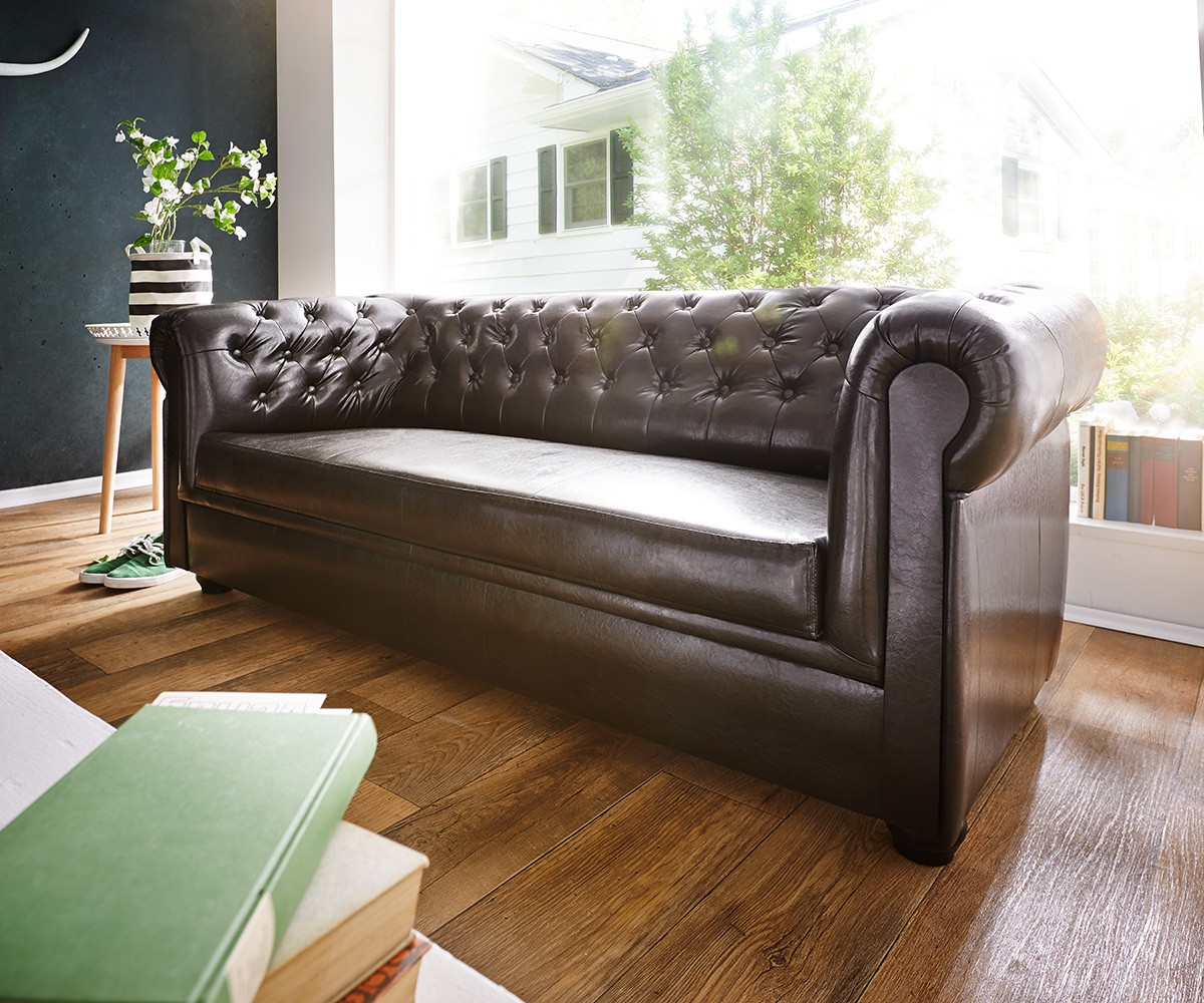 sofa chesterfield 200x90 cm braun abgesteppt 3 sitzer m bel sofas chesterfields. Black Bedroom Furniture Sets. Home Design Ideas