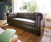 Couch Chesterfield Braun 3-Sitzer Sofa Abgesteppt Gepolstert [3644]
