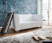 Couch Carlo verchromtes Metall Weiss 160x75 cm Sofa 2-Sitzer [3910]