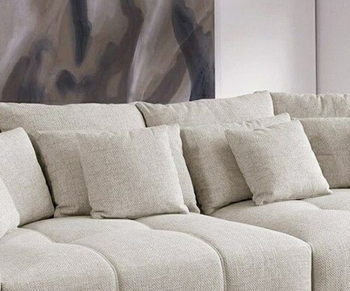bigsofa valeska grau cremeweiss couch 310x135 cm mit 12 kissen big sofa. Black Bedroom Furniture Sets. Home Design Ideas