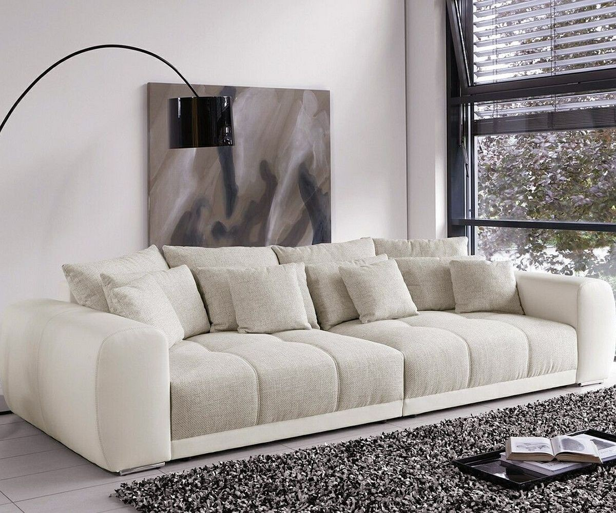 big sofa valeska 310x135 cm grau cremeweiss beige 12 kissen m bel sofas big sofas. Black Bedroom Furniture Sets. Home Design Ideas