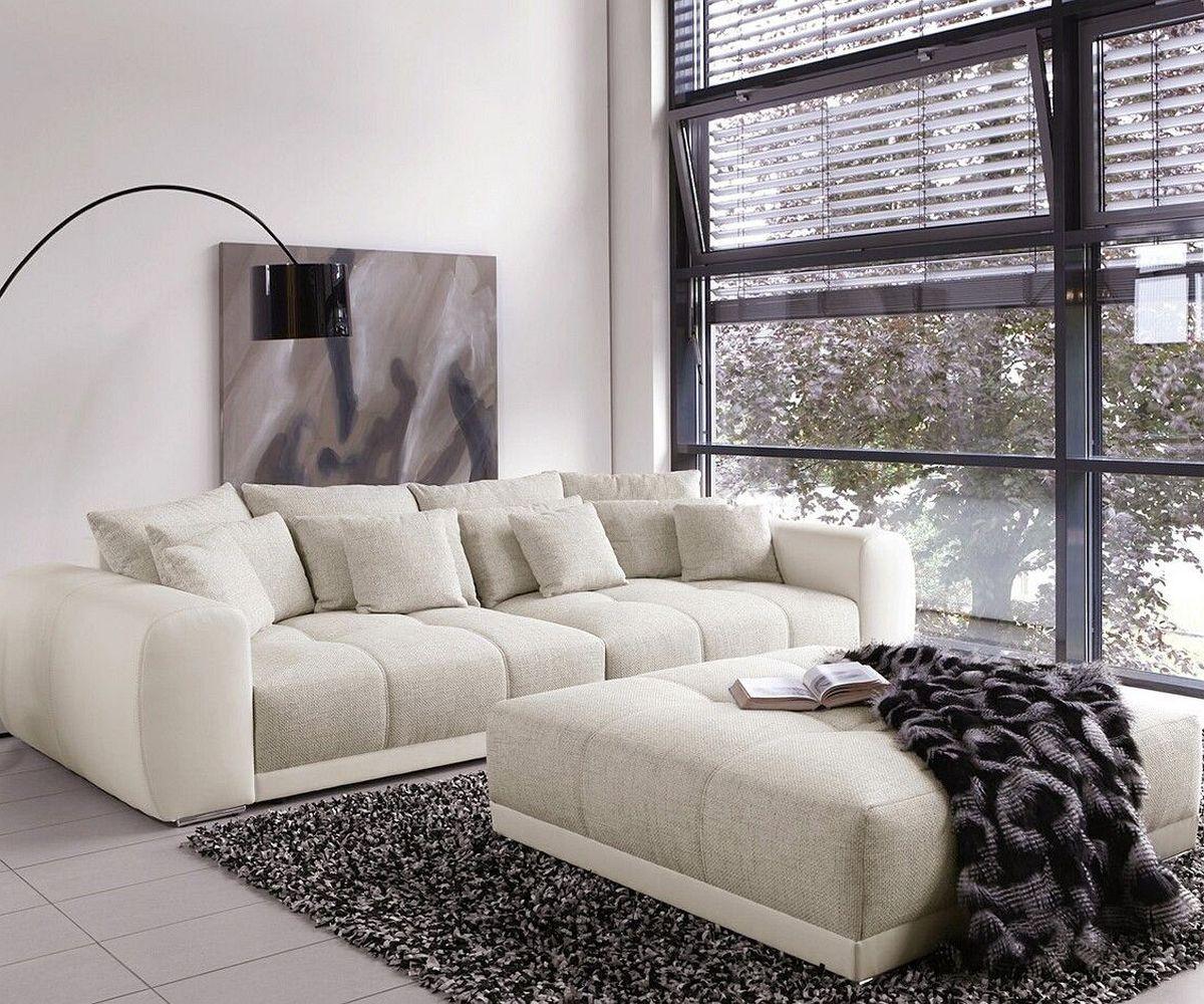 Big-Sofa Valeska 310x135 mit Hocker Grau Weiss Möbel Sofas Big Sofas