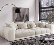 Bigsofa Valeska Grau Cremeweiss 310x135 Couch mit Sitzhocker Big-Sofa [4087]