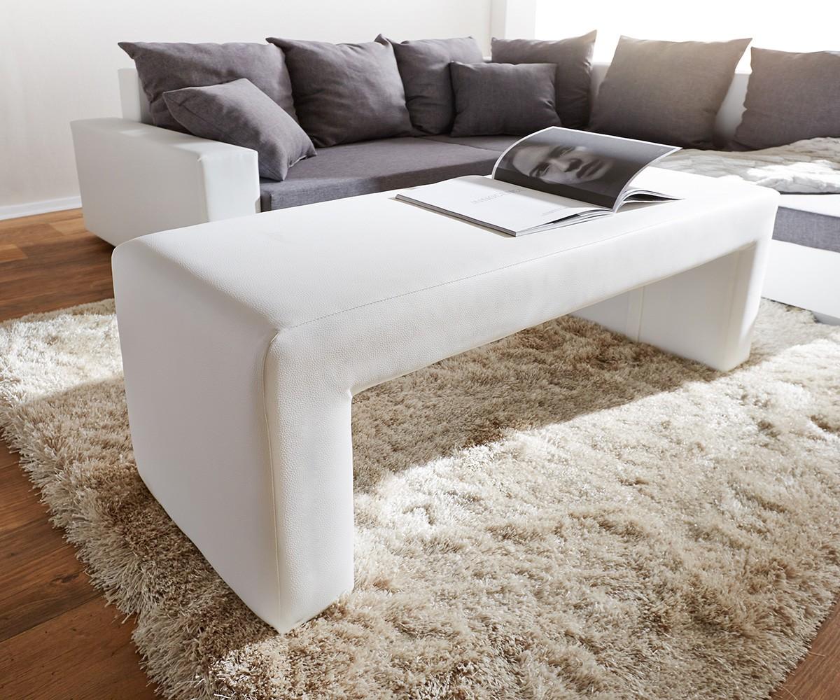sitzbank otello 120x45 cm weiss gepolstert möbel stühle bänke - Schlafzimmer Bank Weis