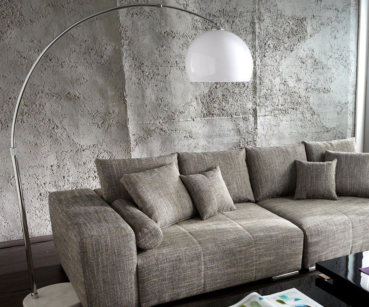 Bogenlampe Big-Deal XL Lounge Weiss Marmor höhenverstellbar