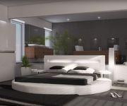 Polsterbett Arrondi Weiss 180x200 Bett rund mit 2 Nachtkonsolen und LED [4373]