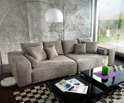 XXL-Couch Marbeya Hellgrau 285x115 inklusive Kissen Big-Sofa [4677]