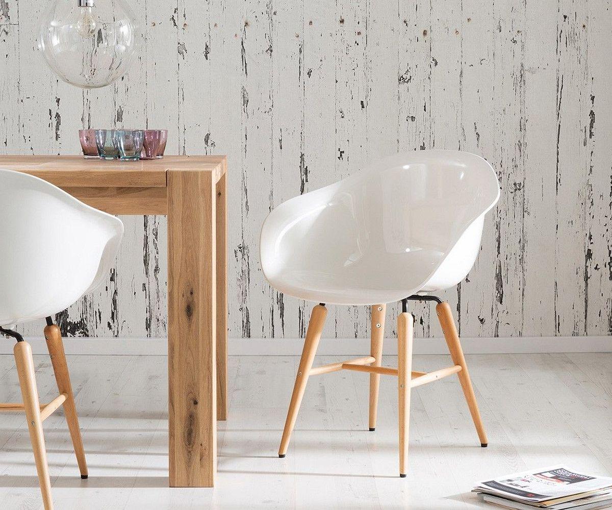Esszimmerstuhl Forum Wood White Weiss Hochglanz by Kare Design