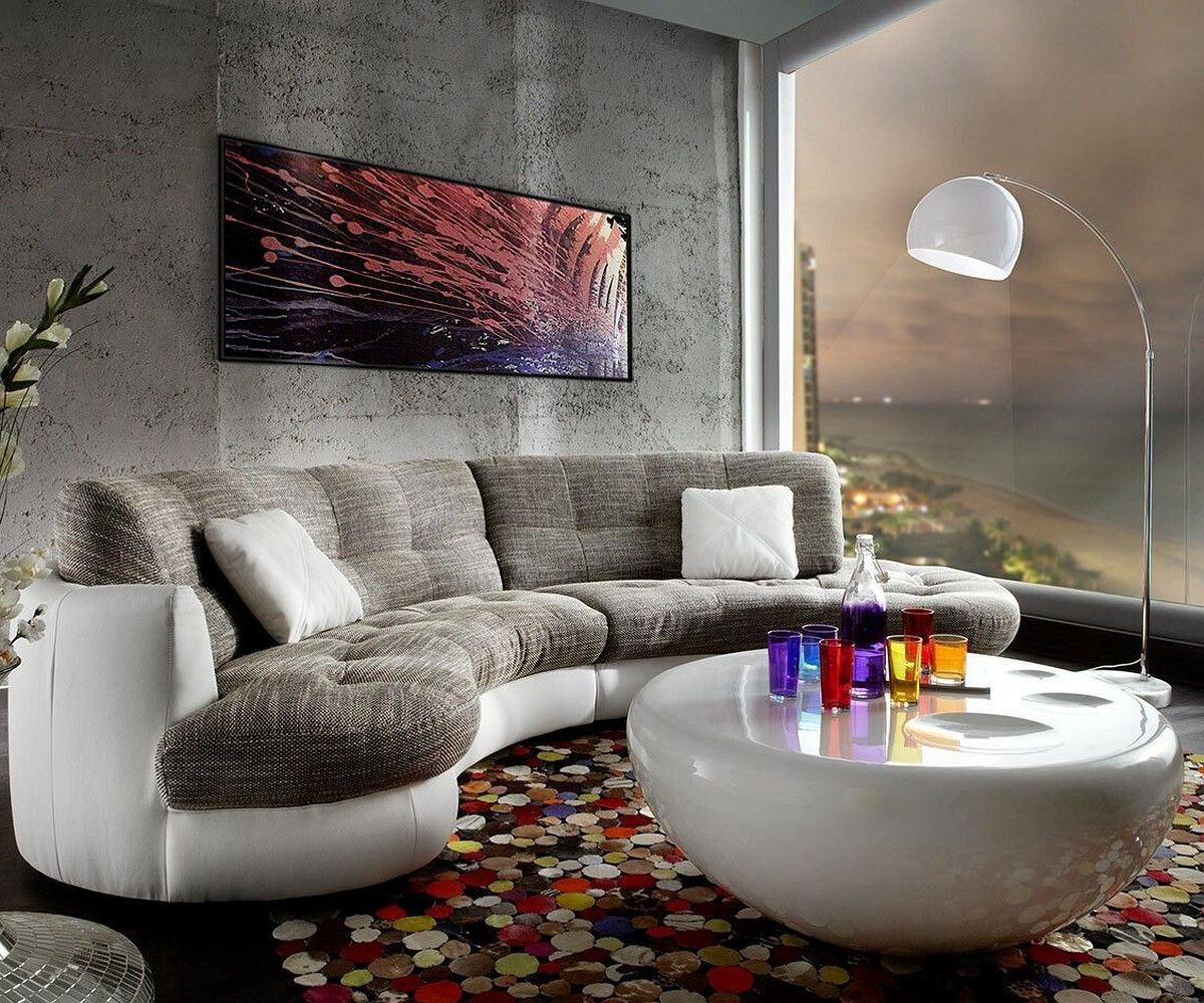 Sofa Napoli 300x95cm Weiss Hellgrau mit Kissen