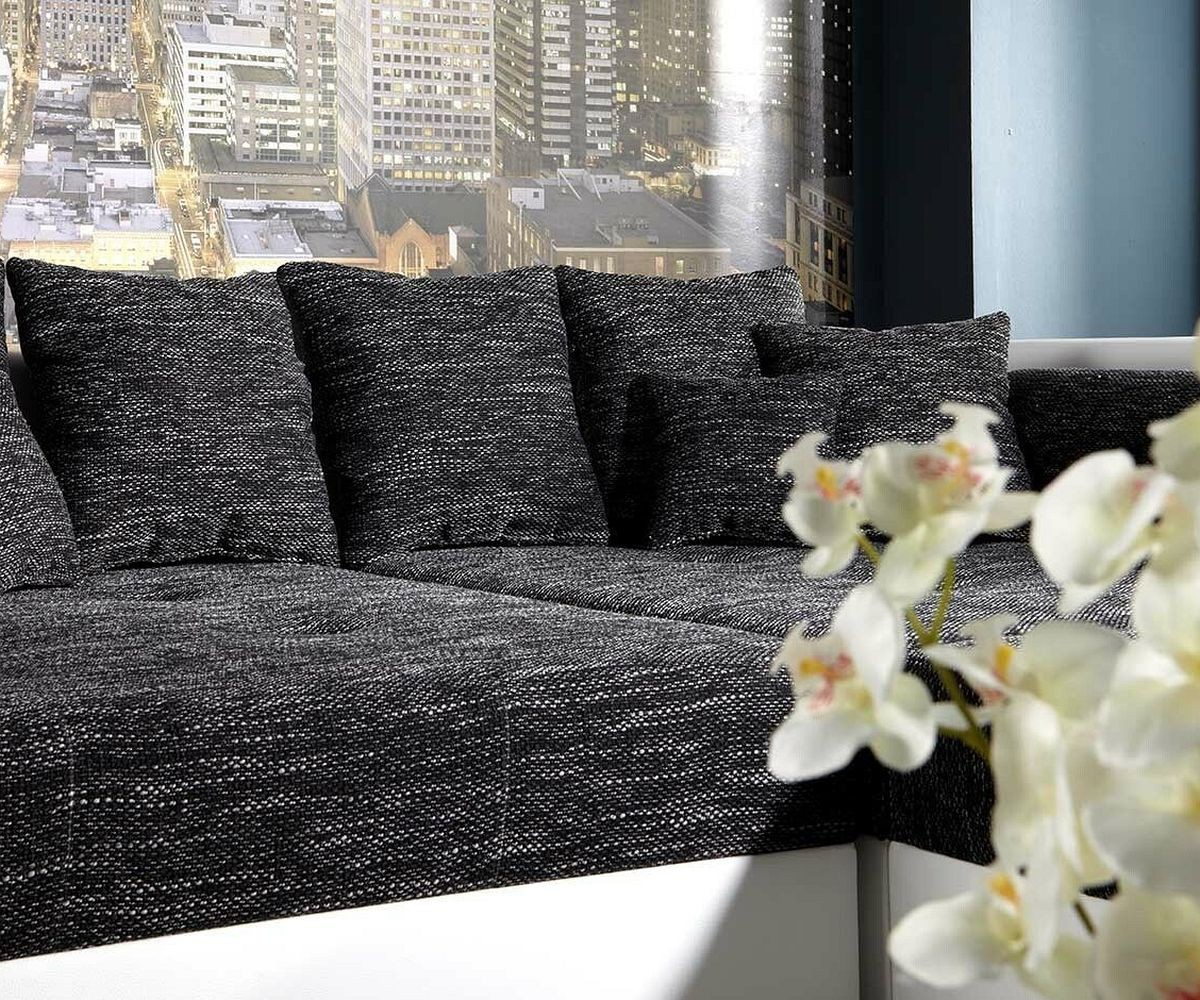 bigsofa marlen 300x140 cm weiss schwarz couch m bel sofas. Black Bedroom Furniture Sets. Home Design Ideas