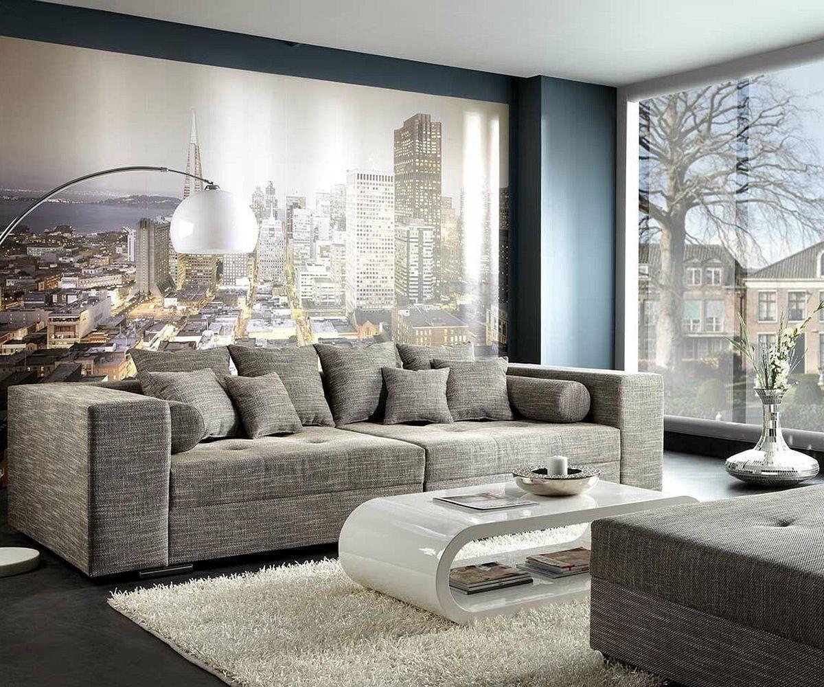 Bigsofa Marlen 300x140 cm Hellgrau Couch