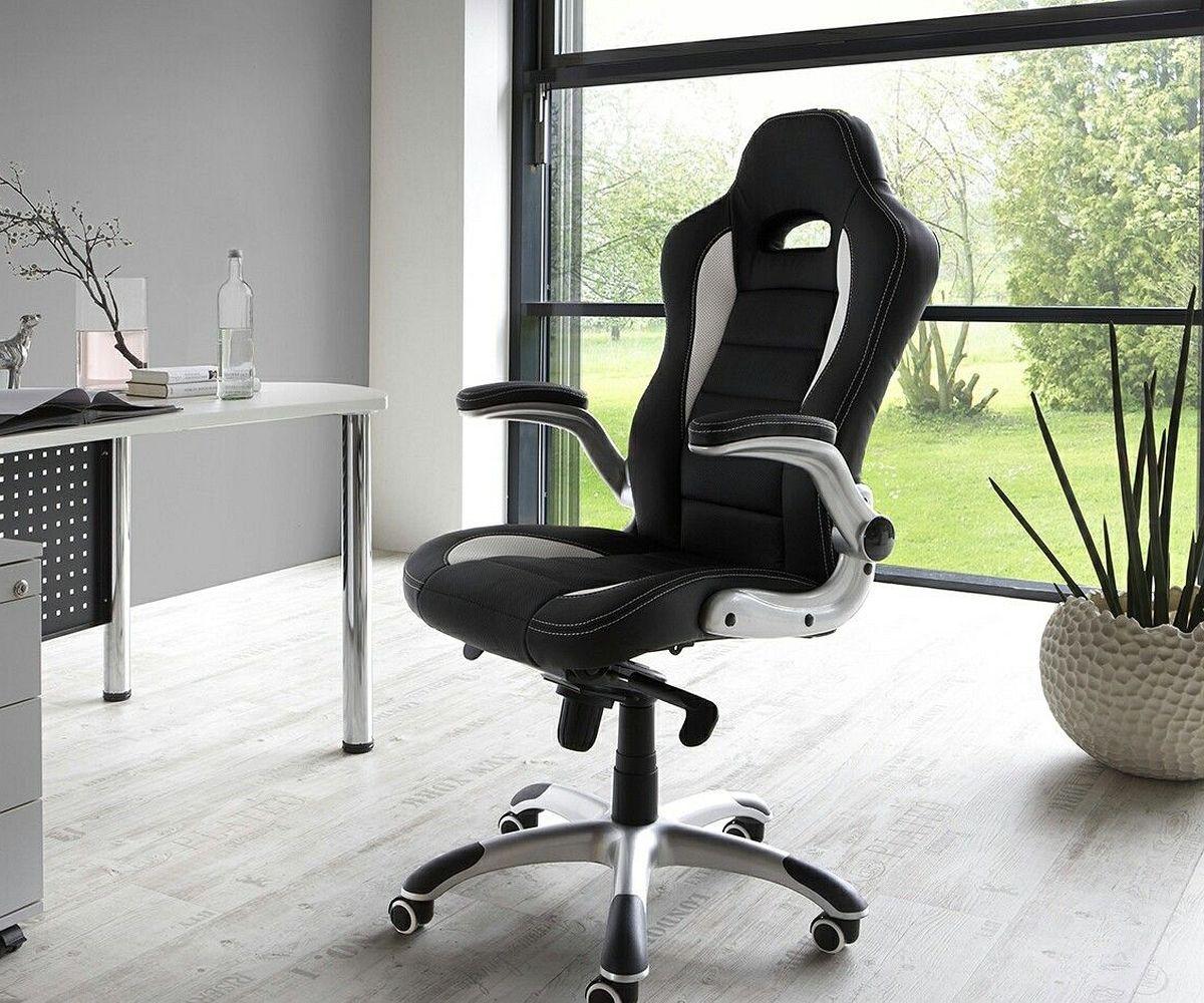 Schreibtischstuhl schwarz weiß  Chefsessel Renzo Schwarz Weiss Bürostuhl verstellbar Möbel Stühle ...