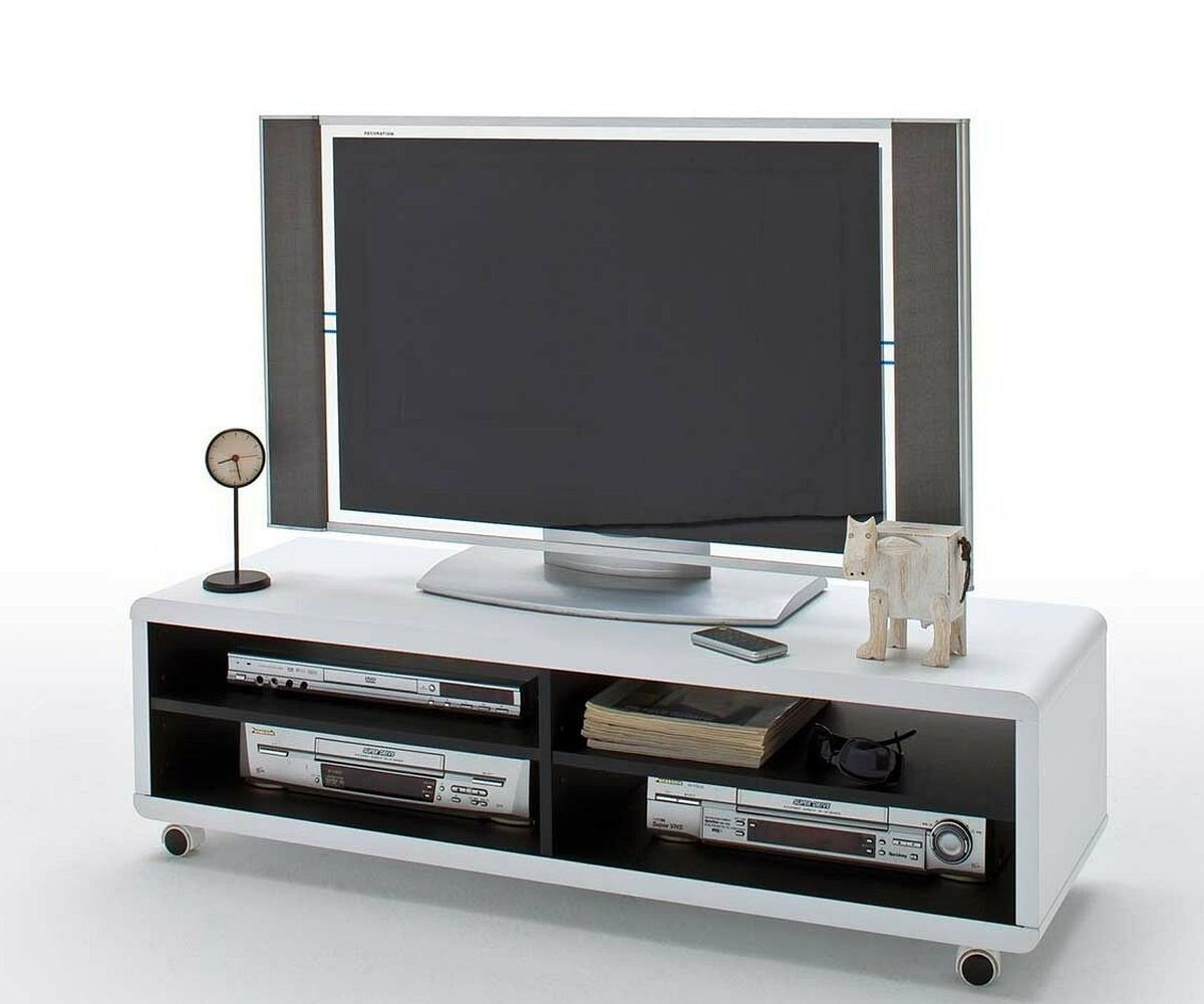 fernsehtisch akira weiss 120 cm rollen und 4 f cher tv board. Black Bedroom Furniture Sets. Home Design Ideas