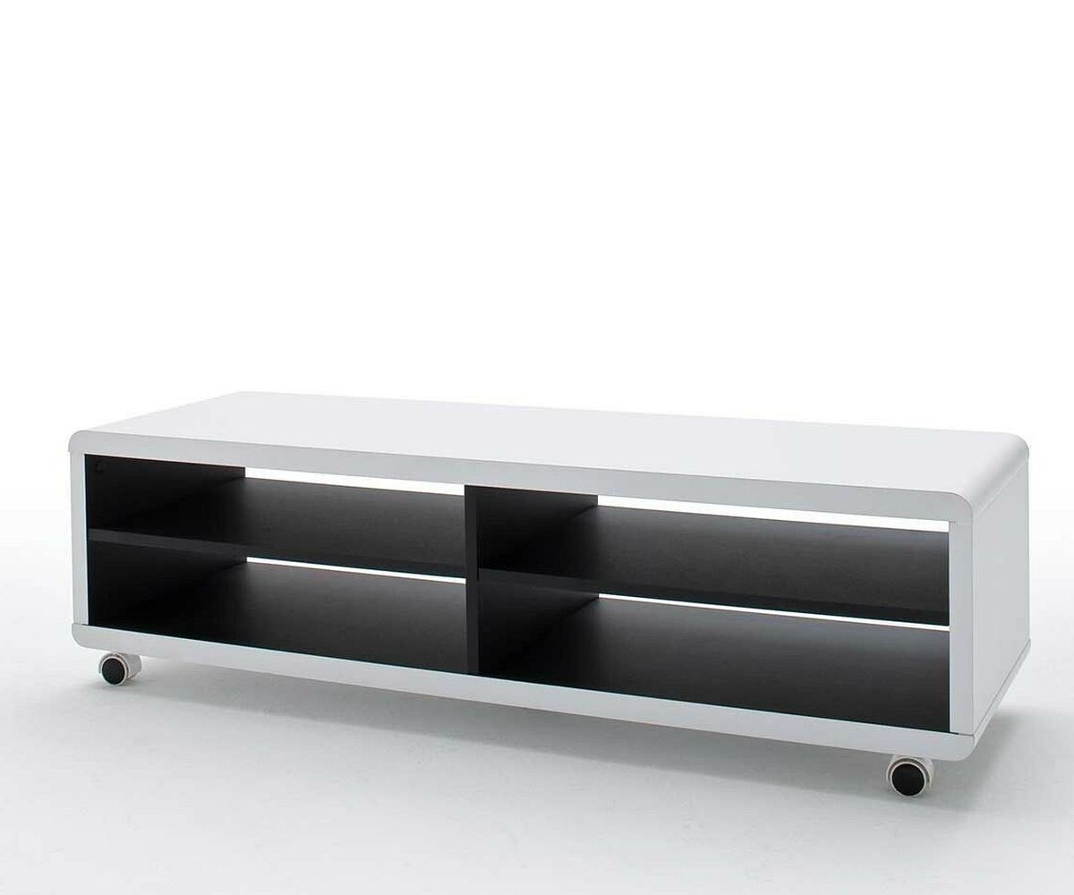 lowboard akira 120 cm weiss 4 f cher mit rollen m bel tische fernsehtische. Black Bedroom Furniture Sets. Home Design Ideas