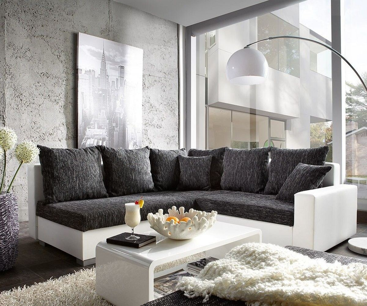 couch lavello schwarz weiss 210x210 ottomane links mit. Black Bedroom Furniture Sets. Home Design Ideas