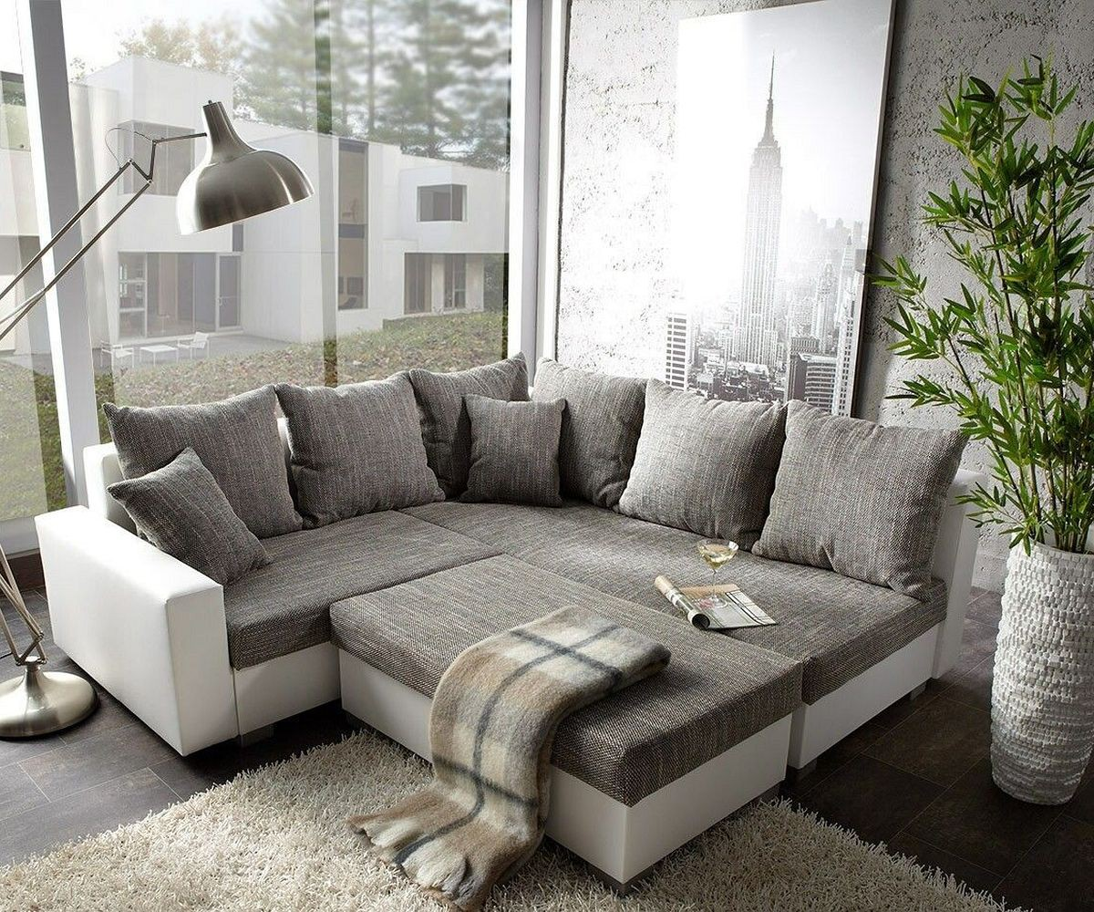 couch lavello grau weiss 210x210 ottomane rechts mit hocker ecksofa by delife ebay. Black Bedroom Furniture Sets. Home Design Ideas