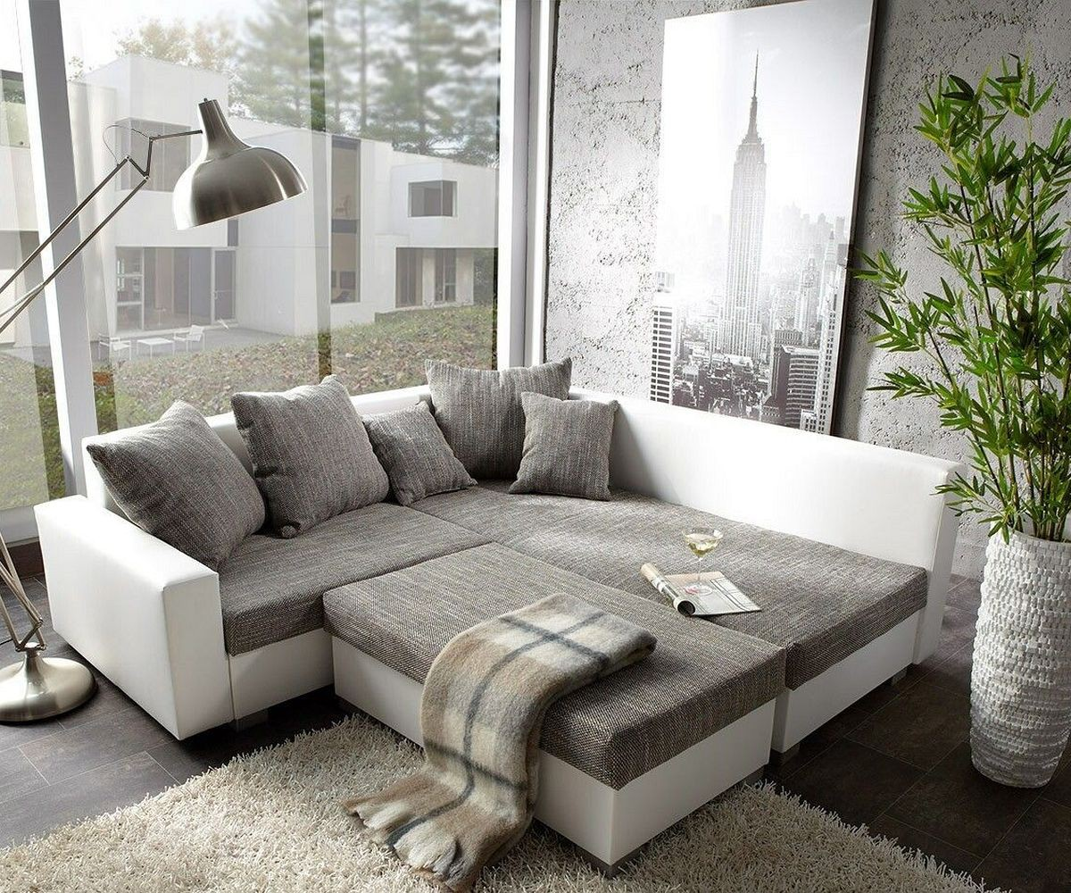 couch lavello grau weiss 210x210 ottomane rechts mit. Black Bedroom Furniture Sets. Home Design Ideas