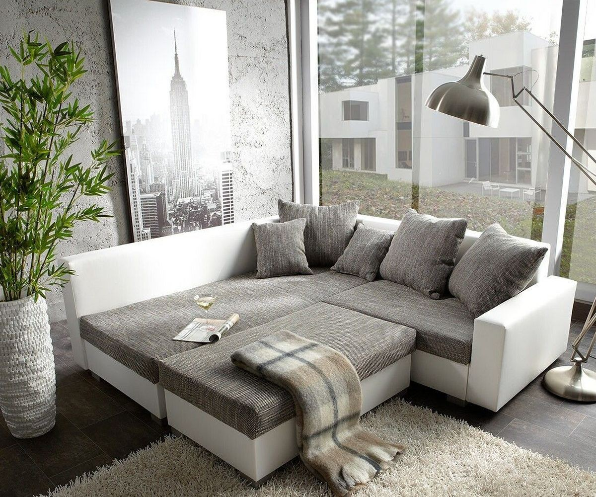 couch lavello grau weiss 210x210 ecksofa ottomane links mit hocker by delife ebay. Black Bedroom Furniture Sets. Home Design Ideas