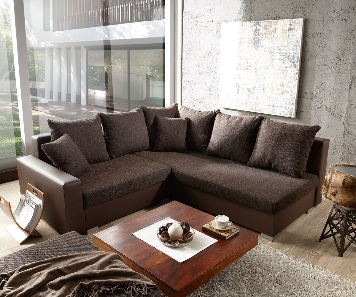 sofa lavello dunkelbraun mit hocker 210x210 ottomane rechts ecksofa ebay. Black Bedroom Furniture Sets. Home Design Ideas