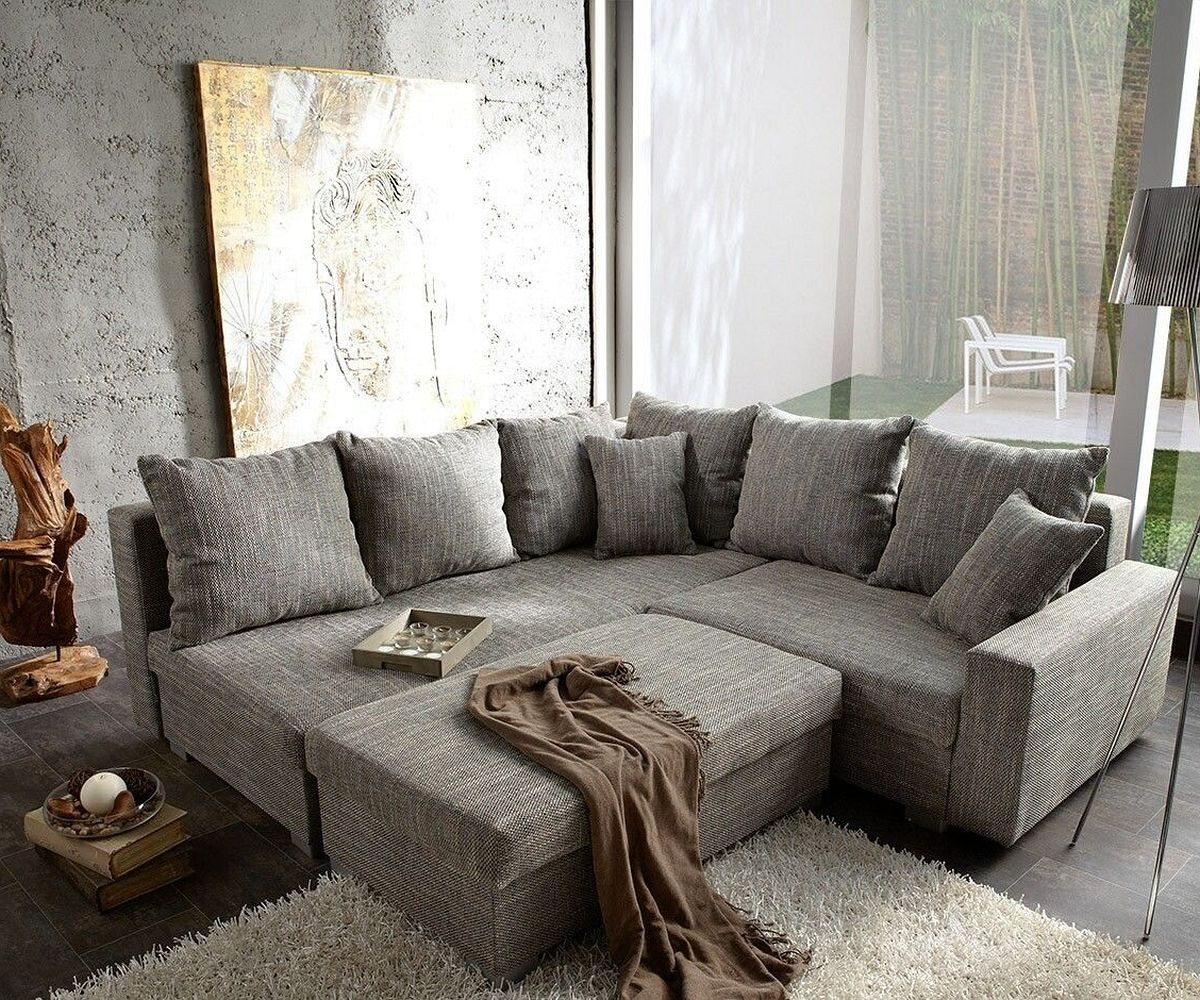 Ecksofa Lavello 210x210 Hellgrau Hocker Ottomane Links