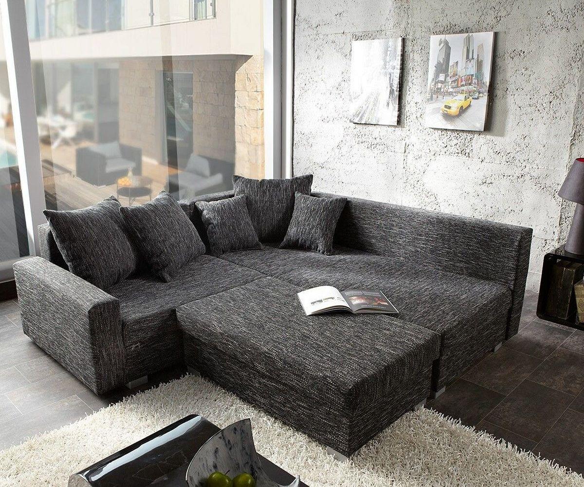 sofa lavello couch schwarz 210x210 mit hocker ottomane rechts ecksofa ebay. Black Bedroom Furniture Sets. Home Design Ideas