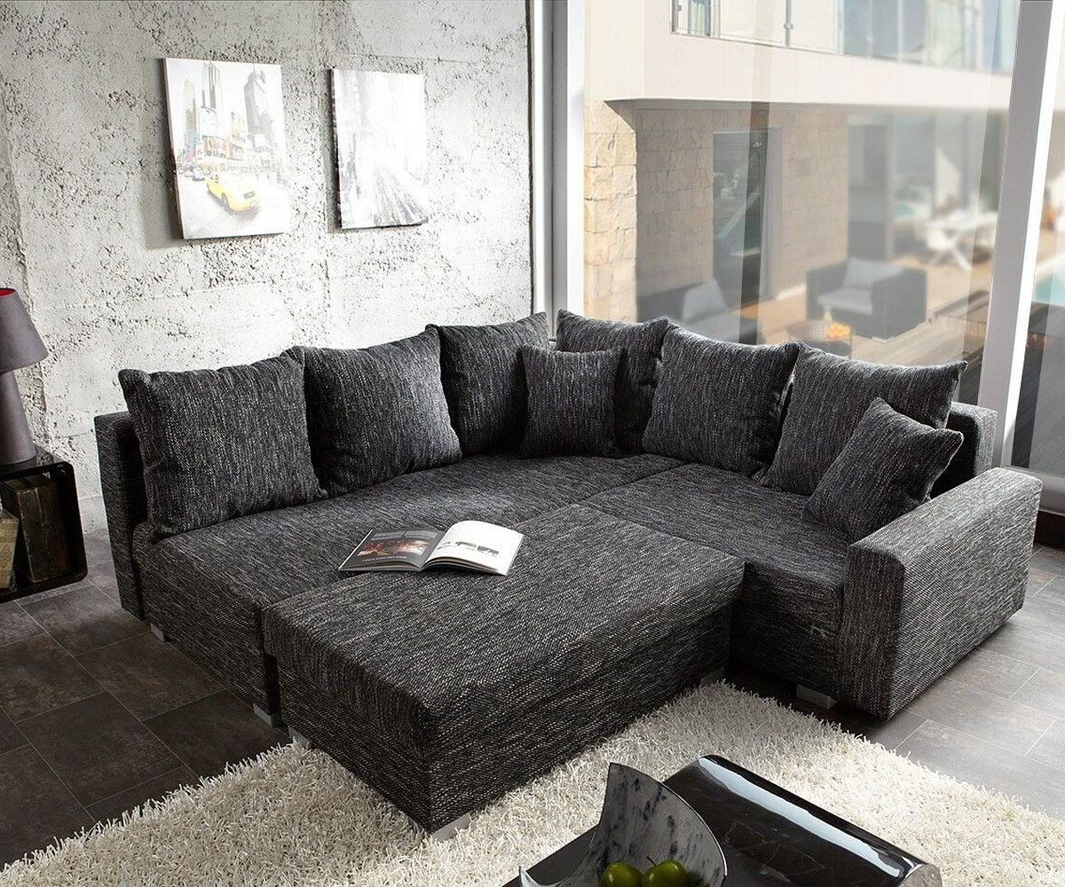 sofa lavello schwarz 210x210 mit hocker ottomane links ecksofa. Black Bedroom Furniture Sets. Home Design Ideas