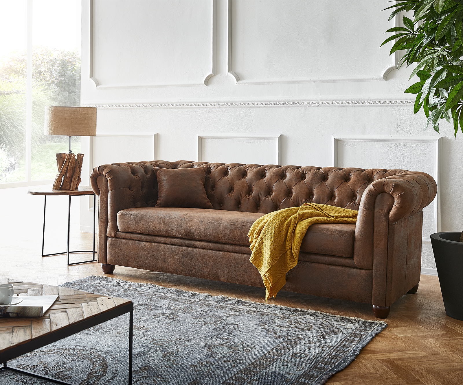 Sofa Chesterfield 200x88 Braun Vintage Optik 3-Sitzer Couch
