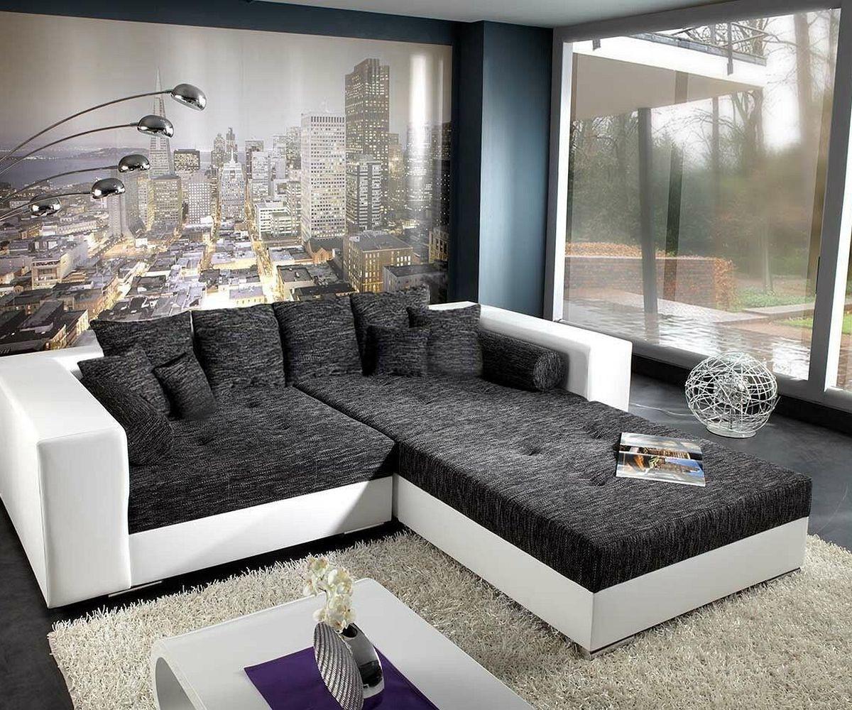 DELIFE Bigsofa Marlen 300x140 cm Weiss Schwarz mit Sitzhocker, Big Sofas
