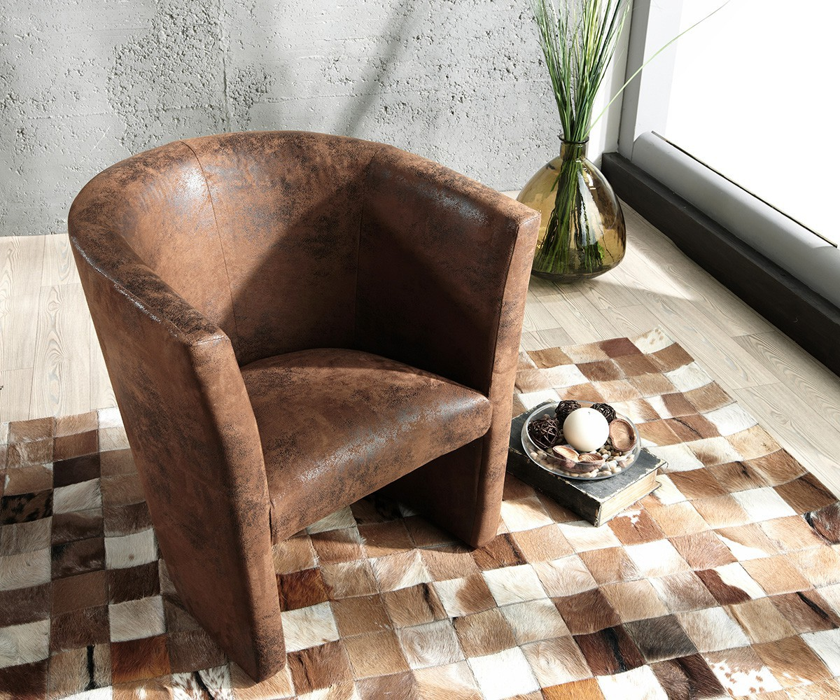Designsessel Goya Braun Gepolstert Antik Optik Lounge Chair Sessel