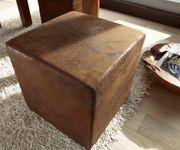 Sitzhocker Dado Braun 45x45 cm Antik Optik Hocker Sitzwürfel [5921]