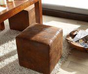 Sitzhocker Dado Braun 45x45 cm Sitzwürfel Hocker Antik Optik abgesteppt [5922]