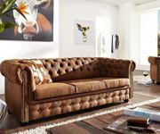 3-Sitzer Chesterfield Braun 200x92 cm Antik Optik Sofa [6197]