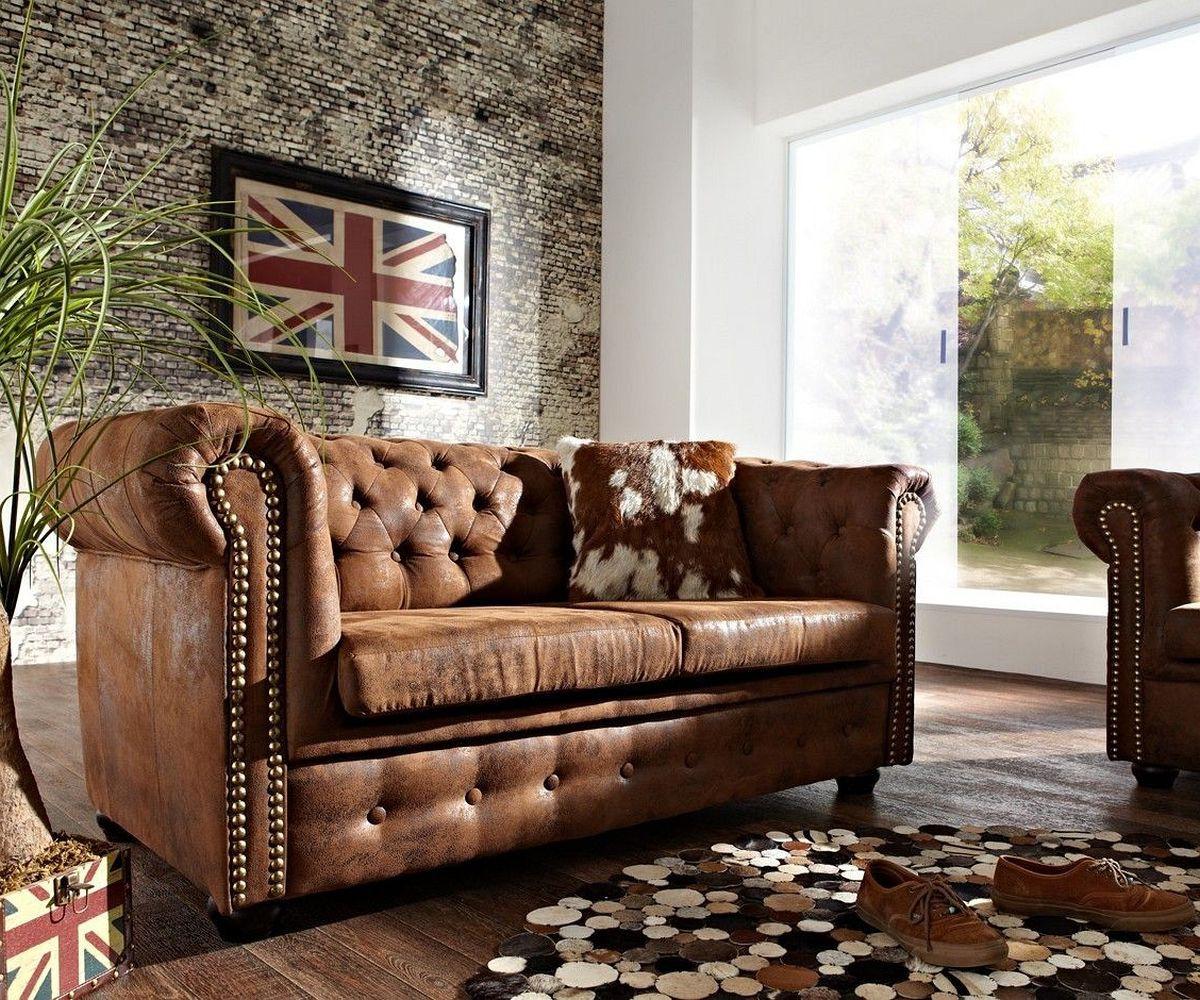 DELIFE Sofa Chesterfield 160x92 cm Braun Antik Optik 2 Sitzer, Chesterfields