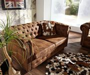2-Sitzer Chesterfield Couch Braun 160x92 cm Antik Optik Sofa [6198]