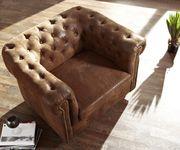 1-Sitzer Chesterfield Braun abgesteppt Antik Optik Sessel  [6199]