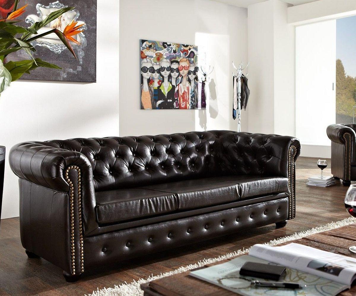 DELIFE Sofa Chesterfield 200x92 Antikbraun abgesteppt 3 Sitzer, Chesterfields