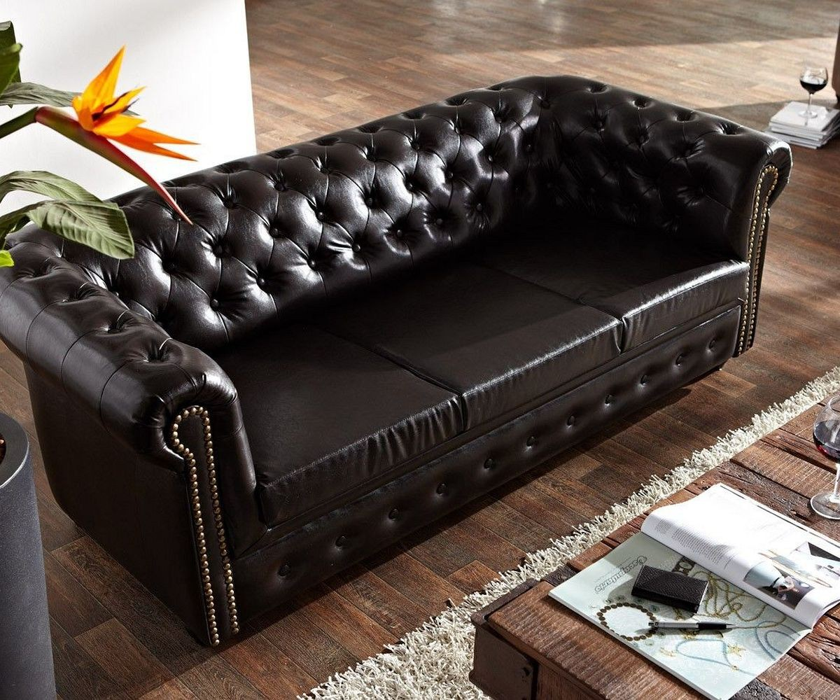couch chesterfield antikbraun 200x92 cm 3 sitzer sofa. Black Bedroom Furniture Sets. Home Design Ideas