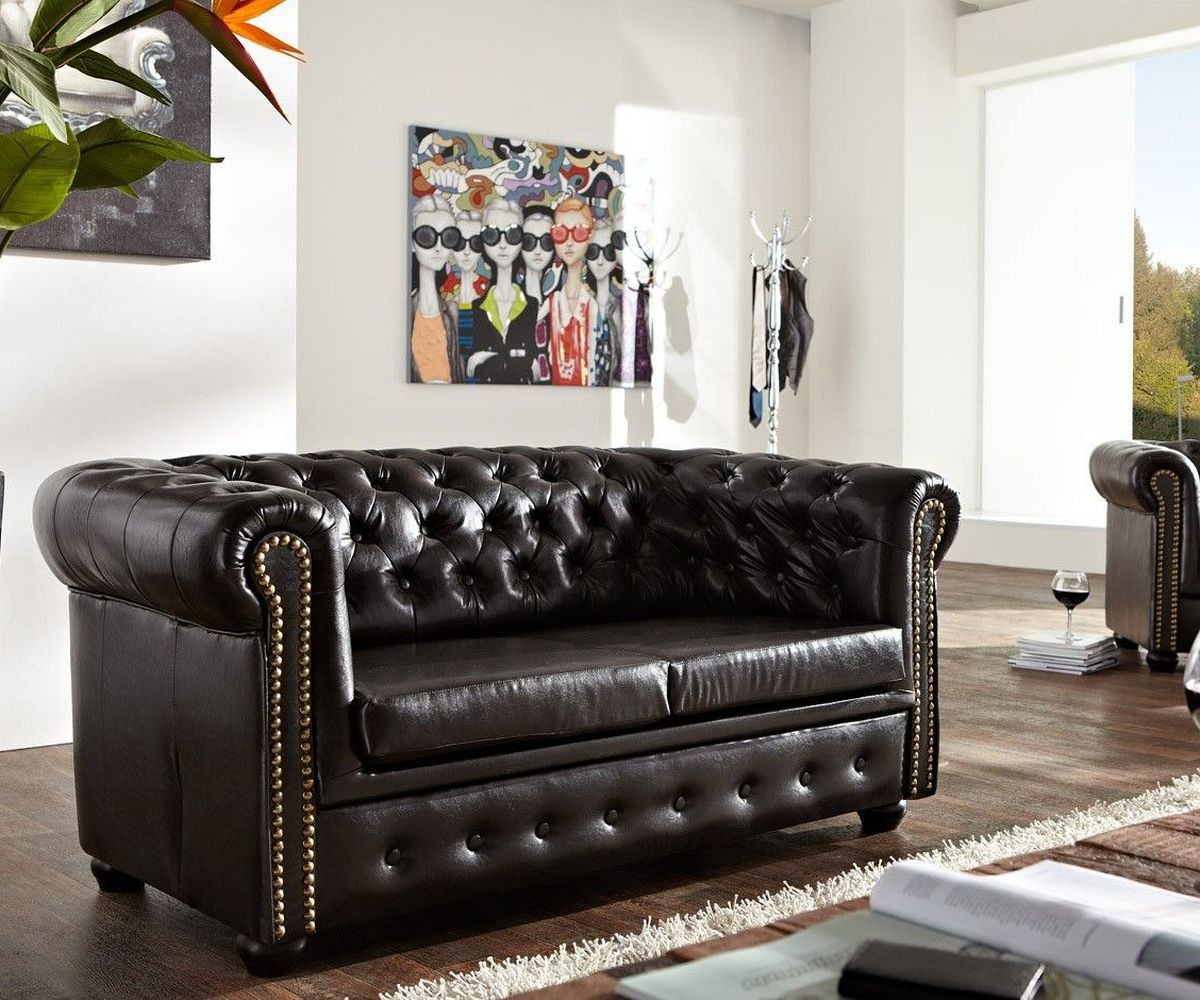 DELIFE Sofa Chesterfield 160x92 cm Antikbraun 2-Sitzer, Chesterfields