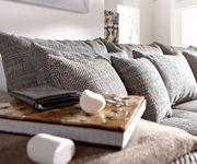 Couch Navin Hellgrau Weiss 275x116 cm Sofa mit Kissen [6224]