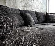 Couch Marbeya Schwarz 290x110 cm mit Schlaffunktion Hocker [6247]